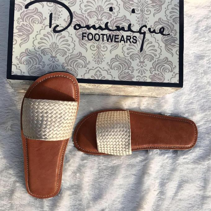 Brown and white cover pam slippers :- Color: brown and white, size:...