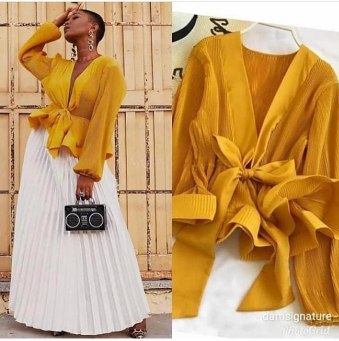 Mustard yellow wrap top - Mustard yellow wrap top