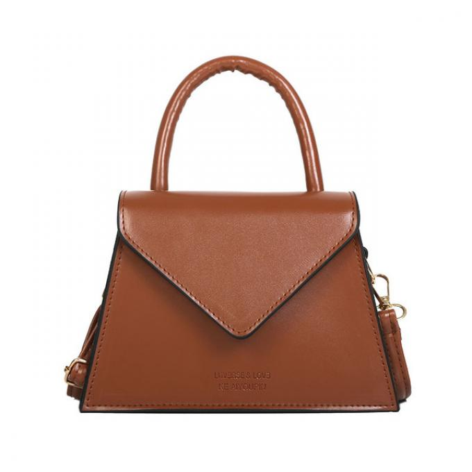 Brown leather bag (Female) - Color: brown, large,