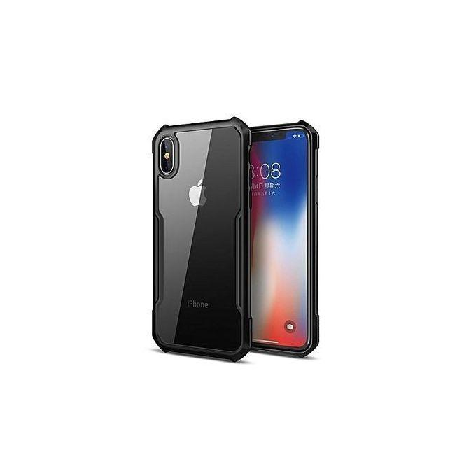Iphone X Shockproof Case Transparent Back Case - color: black and transparent