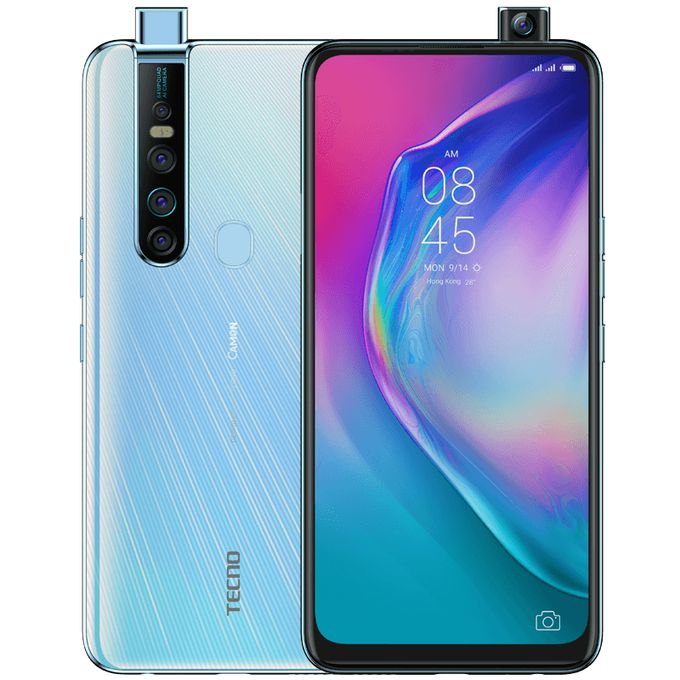 "Tecno Camon 15 Premier (CD8J) 6.6"" Fullview, 64MP Quad Rear + 32MP Pop-Up Camera, 6GB RAM+128GB ROM, Android Q(10), 4G - White -"