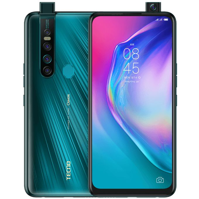 "Tecno Camon 15 Premier (CD8J) 6.6"" FHD, 64MP Quad Rear + 32MP Pop-Up Camera, 6GB RAM+128GB ROM, Android Q(10) 4G - Ice Jadeite -"