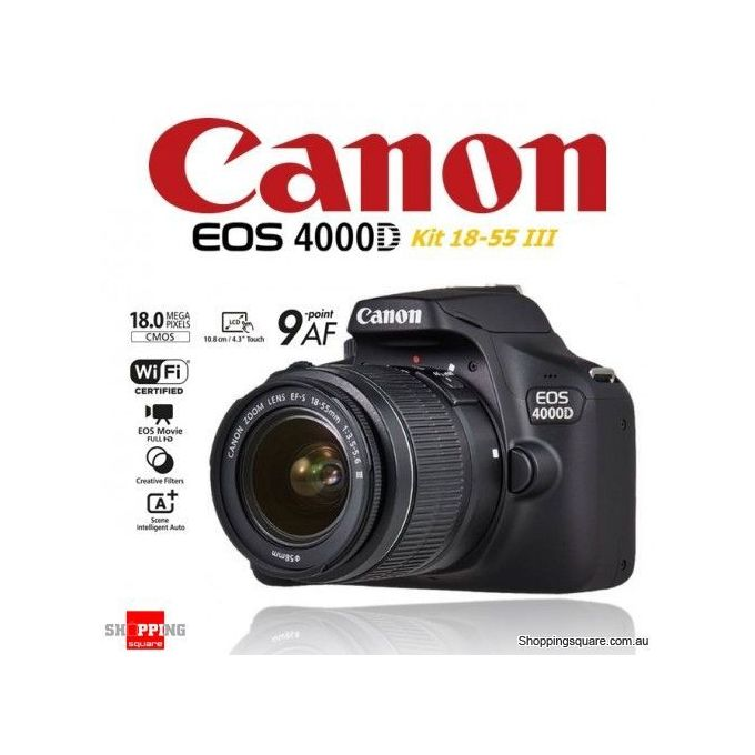 Canon CANON  EOS 4000D 18MP APS-C CMOS Camera With EF-S 18 - 55mm Lens - Canon EOS 4000D DSLR CameraEF-...