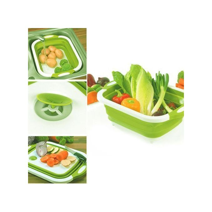 3 IN 1 Foldable Chopping Board With Drainage Basket And Dish Washer For Every Homes :-