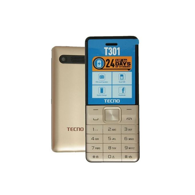 Tecno T301 Dual Sim With Camera & TorchLight Fm Loud Speaker - Champagne Gold :- Operating system: mosNetwork:...