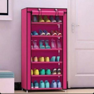 Shoe rack :- 6 layers shoe rack with cover