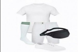 NYSC Standard Kit: 3 white T-shirts (round neck) + 3 brilliant white shorts + 1 waist bag+ 1 pair of rubber tennis shoe + 4 pairs of green and white stripped socks - NYSC Standard Kit: 3 white T-s...
